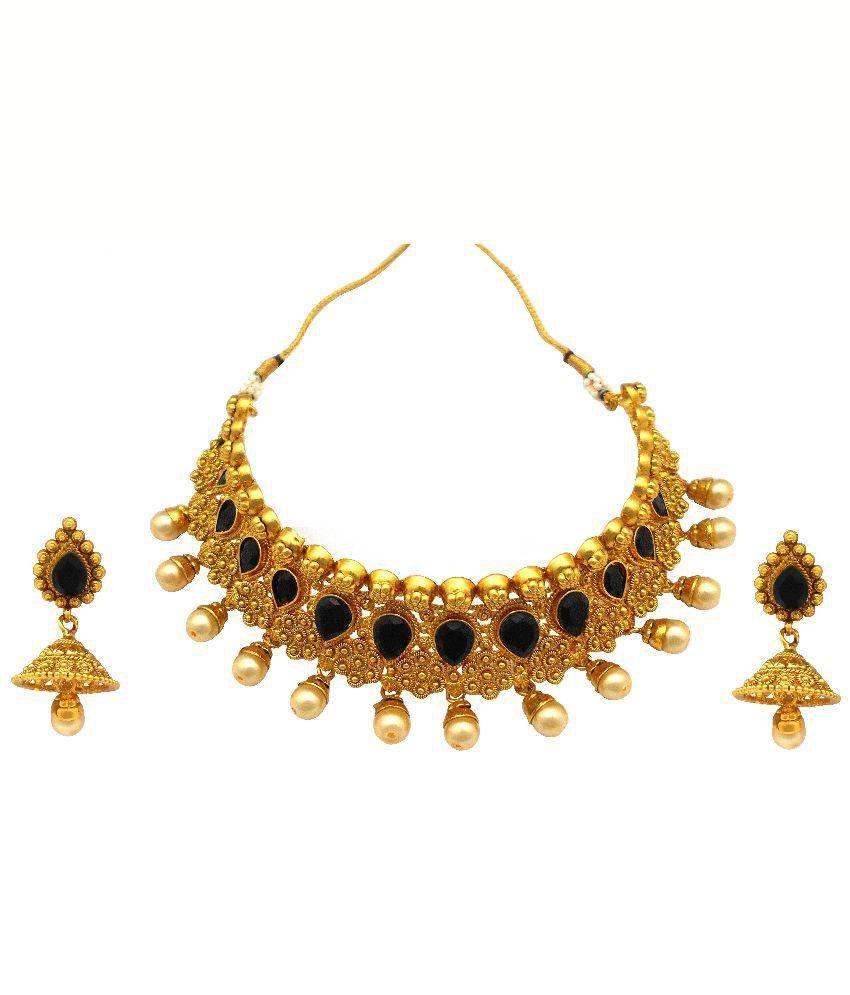 Rejewel Golden and Black Alloy Necklace Set