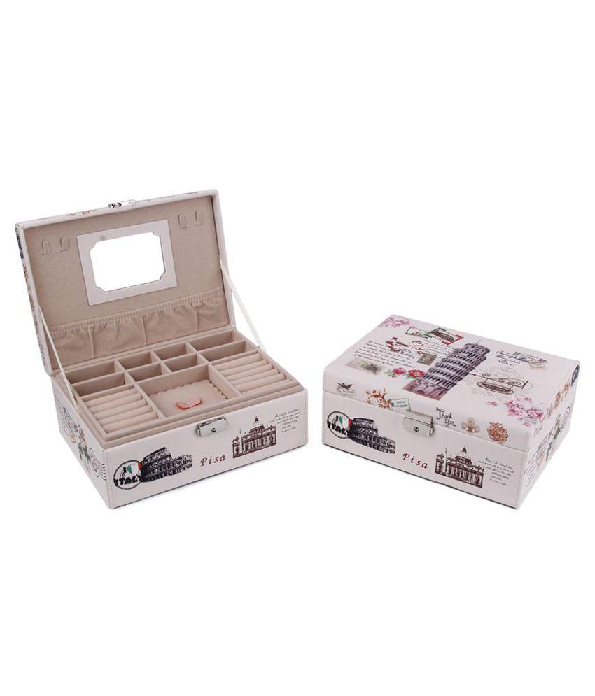 Uberlyfe White Classy Vintage Style Jewellery Box