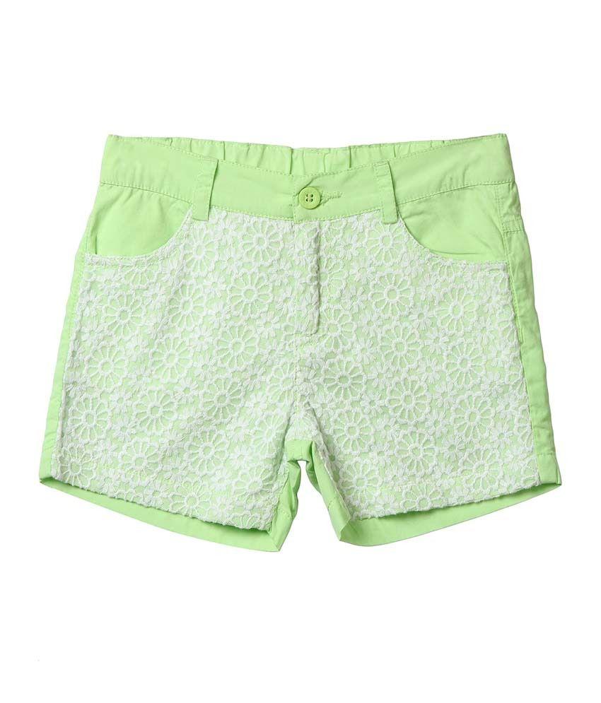 Beebay Green Shorts For Girls
