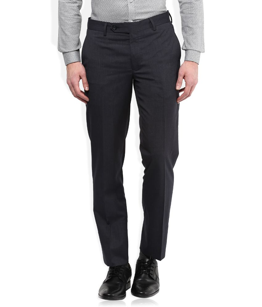 Wills Lifestyle Black Slim Fit Trousers