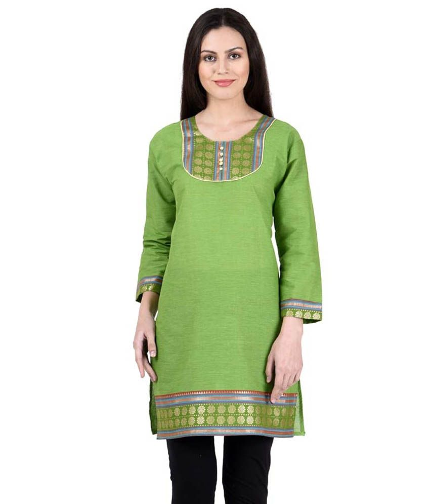 Hardy's Collection Green Straight Cotton Kurti
