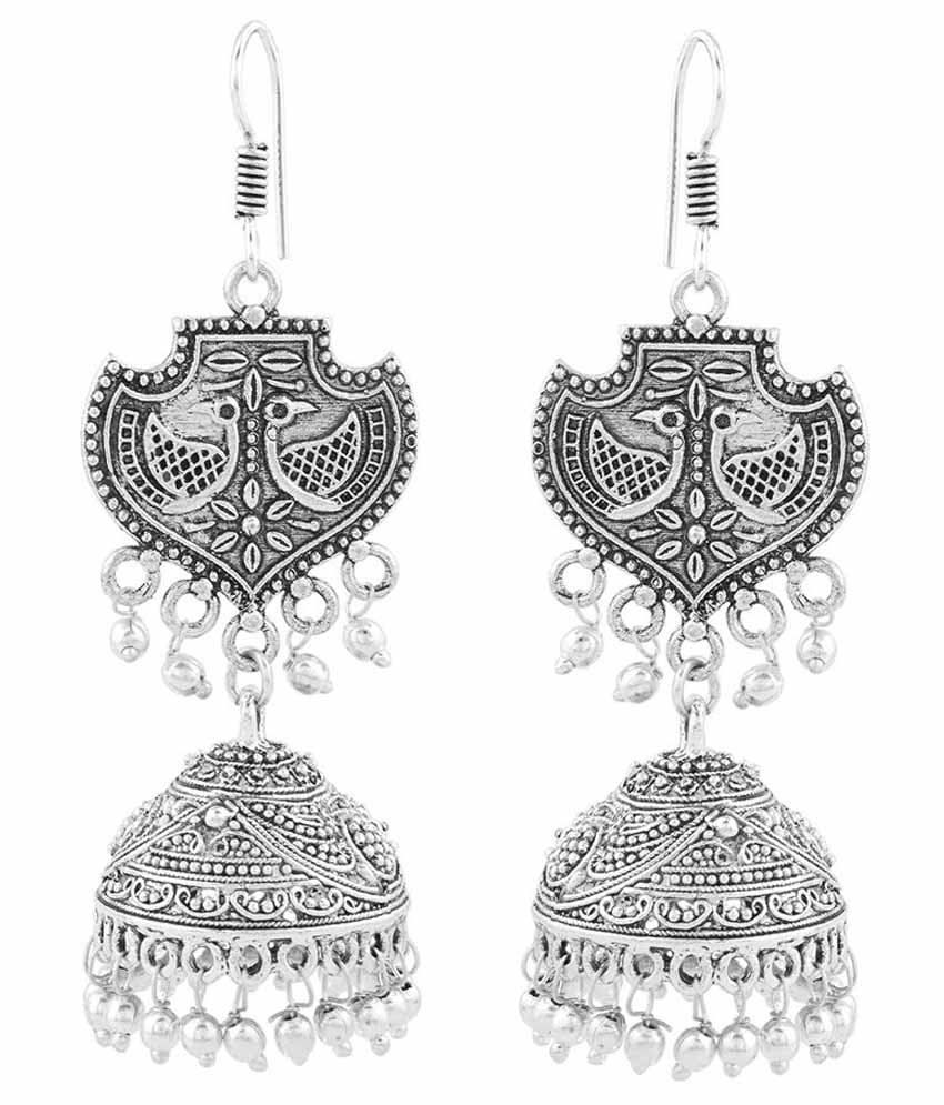 online motif silver com buy floral jaypore earrings with classic at