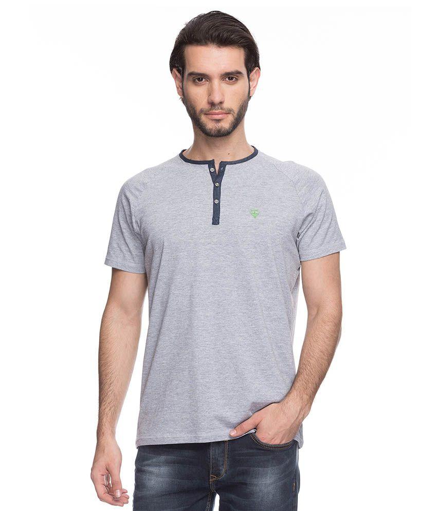 Spykar Grey Henley T Shirts No