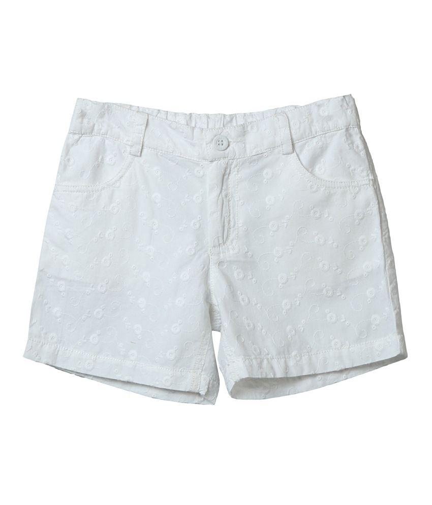 Beebay White Cotton Short