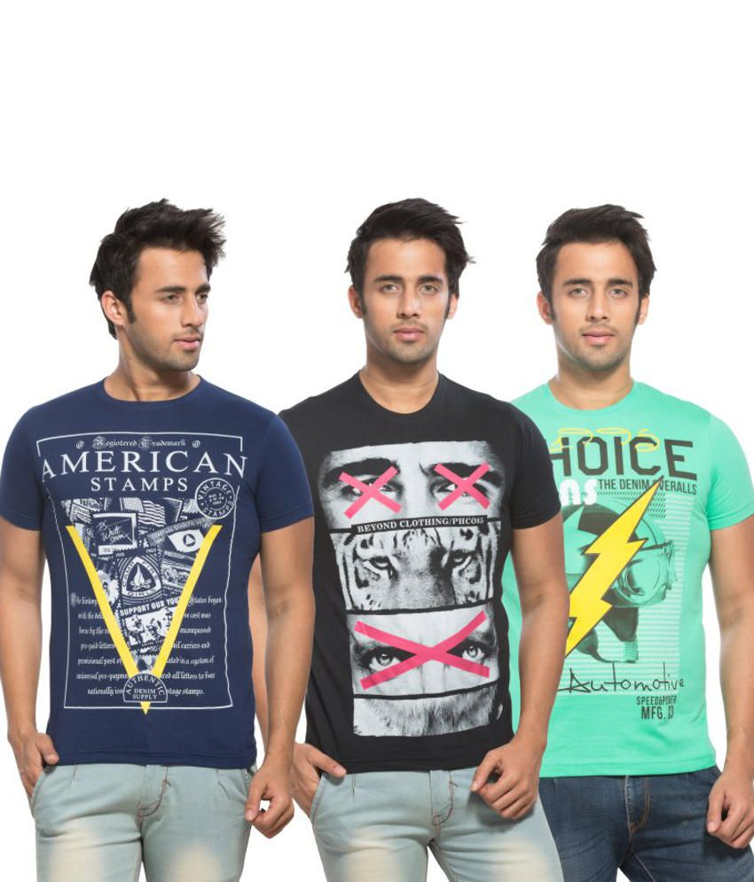 Maniac Multi Colour Round T Shirts