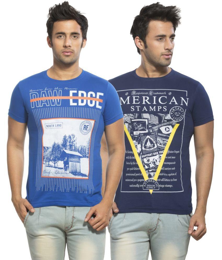 Maniac Navy and Blue Round T Shirts
