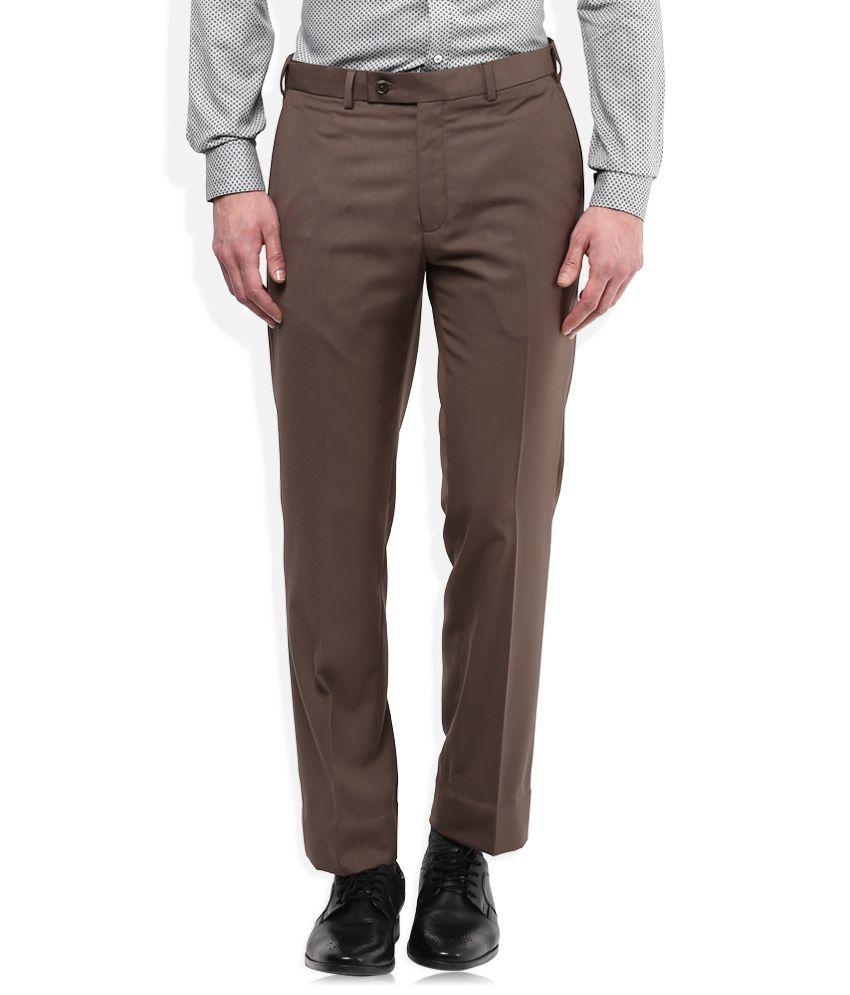 Park Avenue Brown Regular Fit Trousers