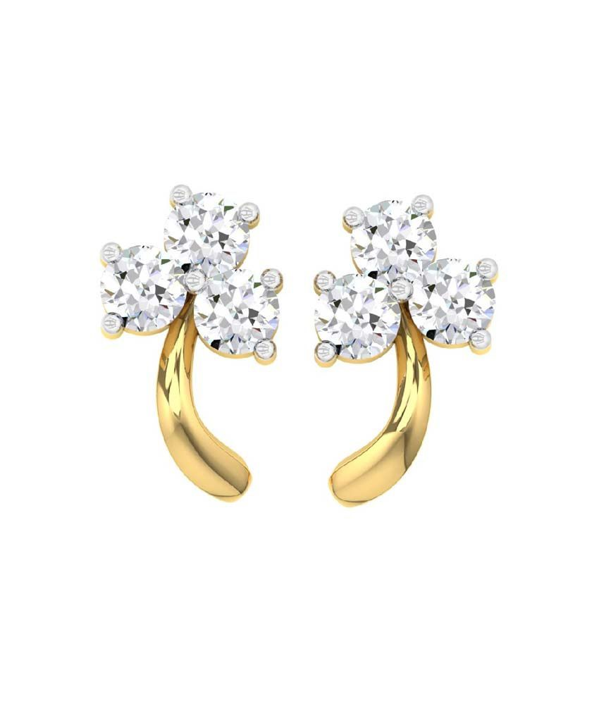 843c13dd1 ... Stud Earrings with 0.18cts Diamonds: Buy TBZ-The Original 18Kt Yellow  Gold Daily Wear Stud Earrings with 0.18cts Diamonds Online in India on  Snapdeal