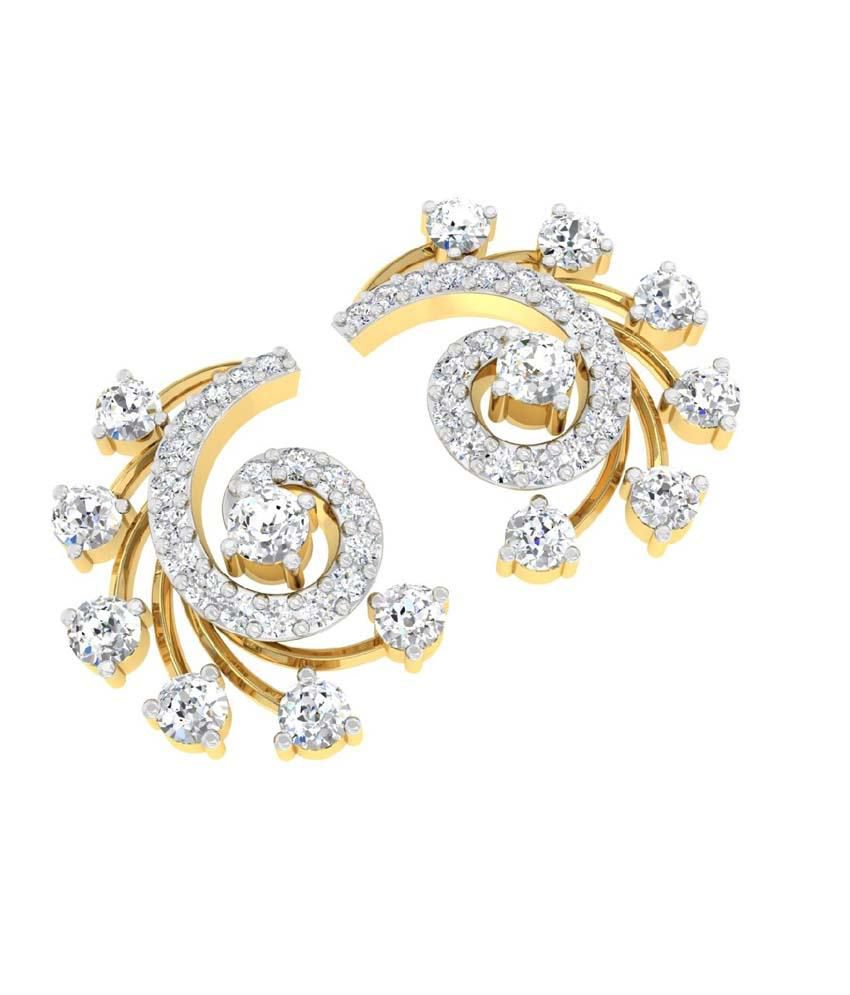6d526cddb ... TBZ-The Original 18Kt Yellow Gold Daily Wear Stud Earrings with 0.79cts  Diamonds ...