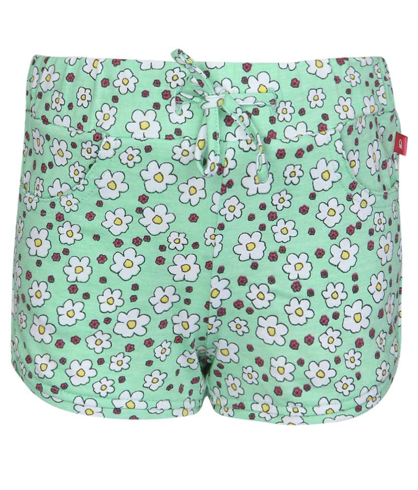 United Colors of Benetton Green Floral Printed Shorts