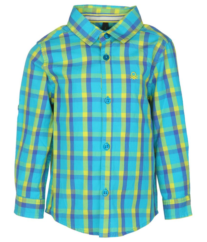 United Colors of Benetton Turquoise Checked Baby Shirt