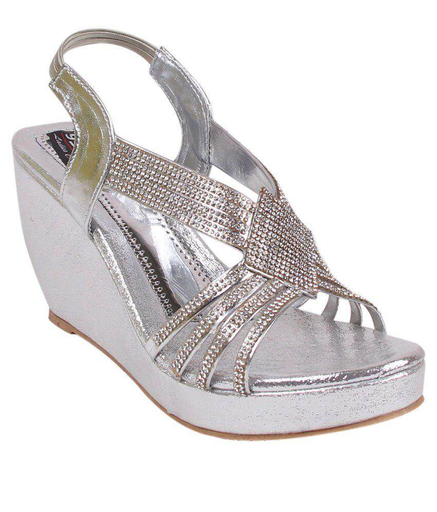 9SPACE Silver Wedges Heels