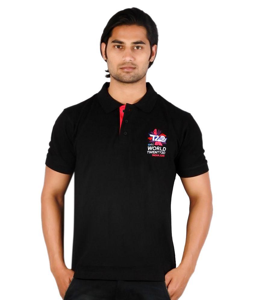 ICC World Twenty20 Black Polo Neck T Shirt