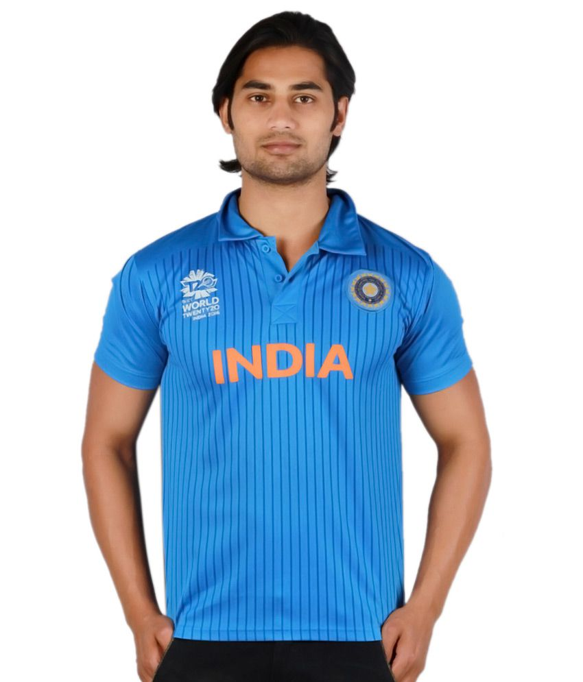ICC World Twenty20 Blue Polo Neck T Shirt