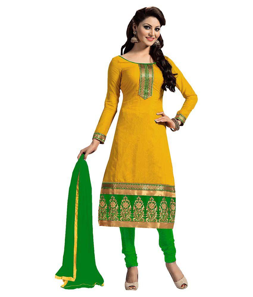 women latest fancy designer salwar suit yellow chanderi