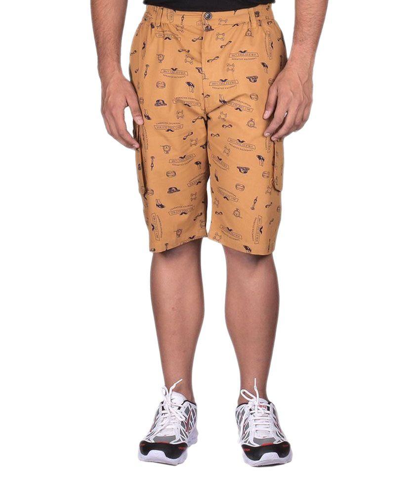Black Casual Beige Shorts
