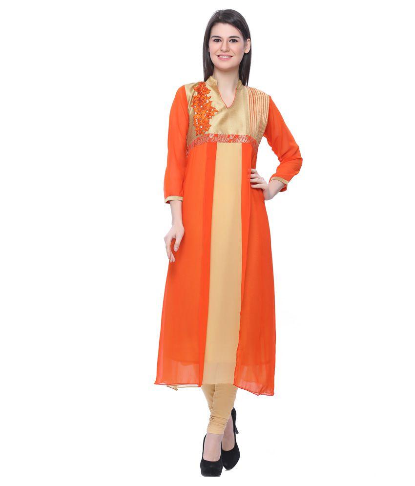 Illahi Orange Straight Pure Georgette Kurti