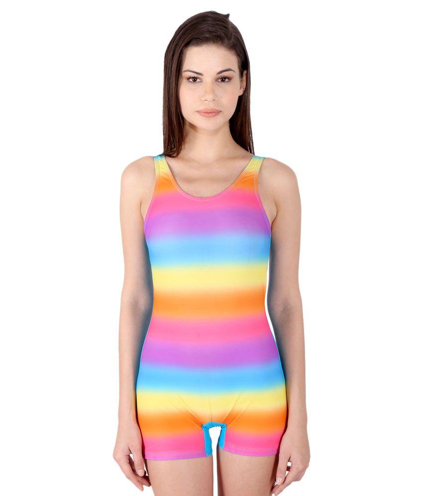 Lactra Multicolour Frock Style Swim Wear For Women/ Swimming Costume