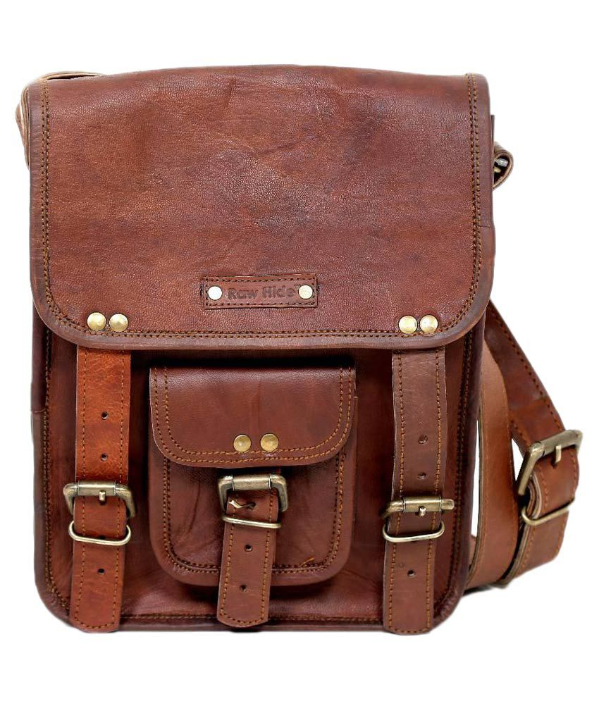 Raw Hide Brown Leather Laptop Bag