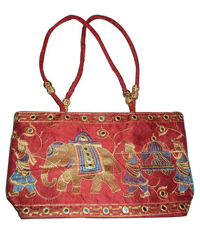 Czds India Red Silk Shoulder Bag