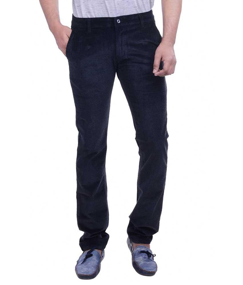 Hoffmen Black Slim Fit Flat Trousers