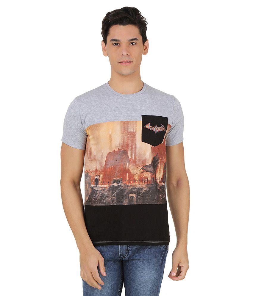 Arkham Asylum Grey Printed T-Shirt