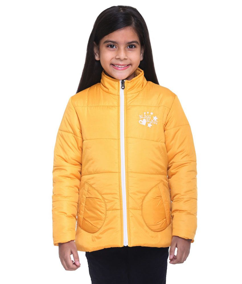 Kids-17 Yellow Polyester Quilted and Bomber Jacket