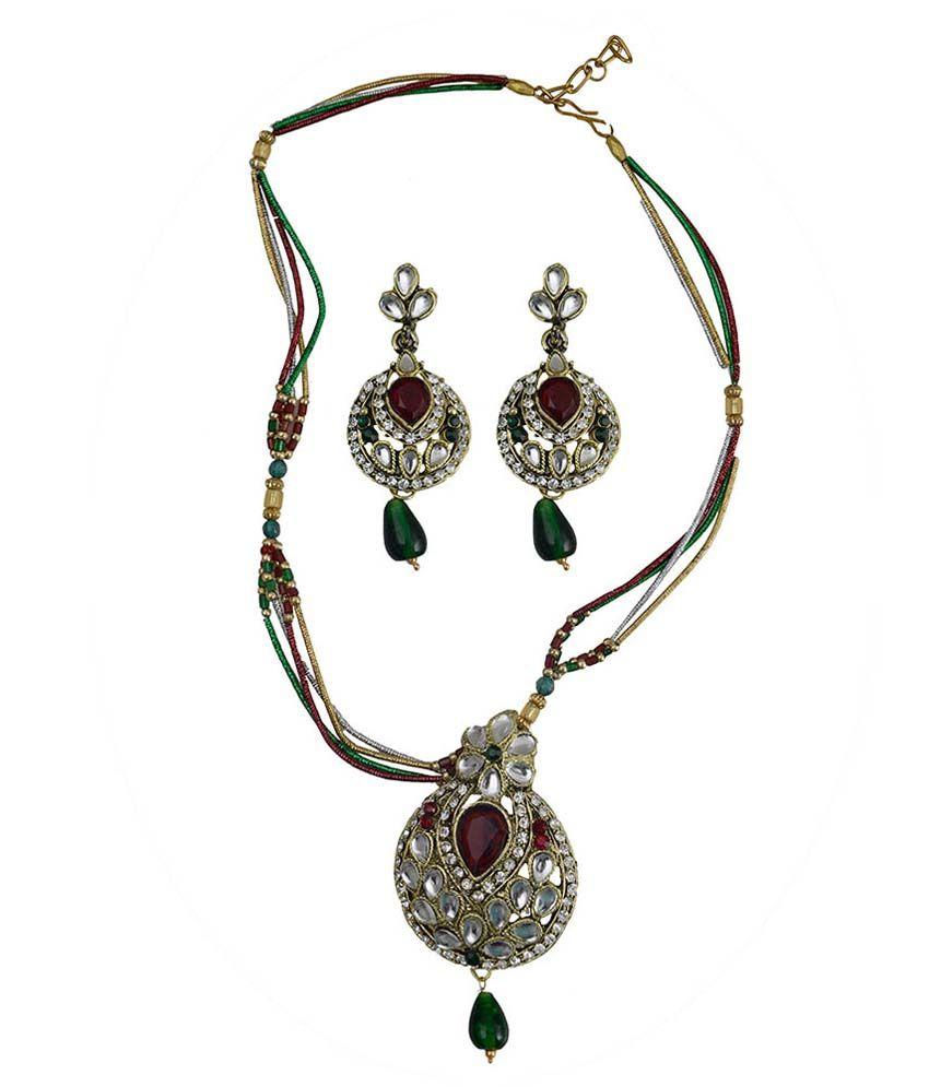Taj Pearl Multicolour Alloy Necklace Set