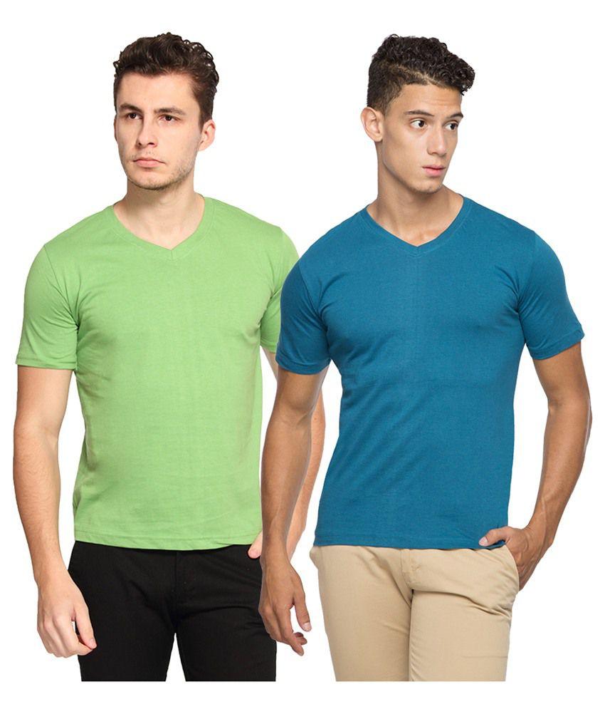 Afylish Green V-Neck T Shirts