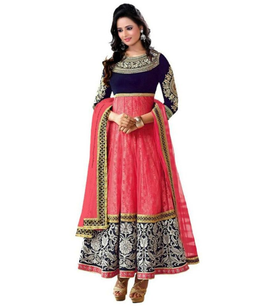 670abadc05a ... Georgette Anarkali Gown Semi Stitched Suit - Buy Hifi Fashion Pink  Georgette Anarkali Gown Semi Stitched Suit Online at Best Prices in India  on Snapdeal