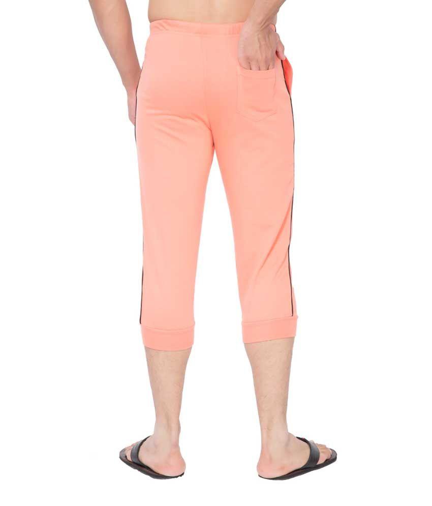 Clifton Fitness Men's Thin Stripe Comfort Capri- Deep Orange.Black