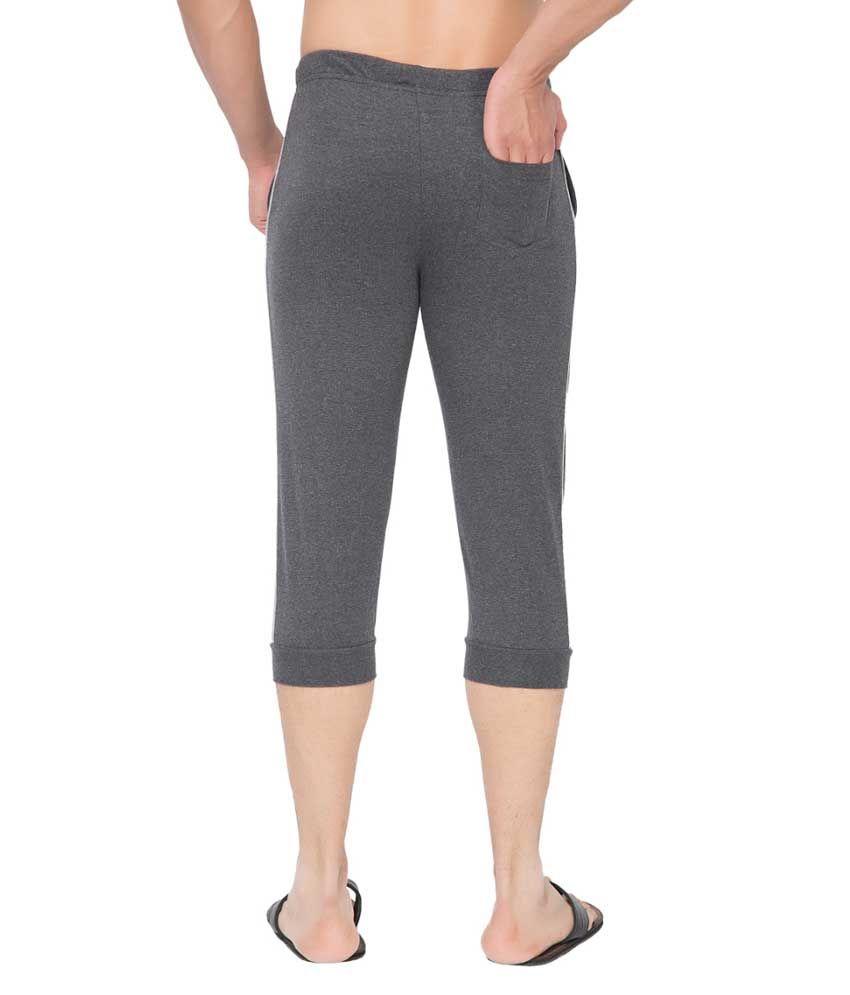 Clifton Fitness Men's Thin Stripe Comfort Capri- Charcoal Melange.Grey Melange