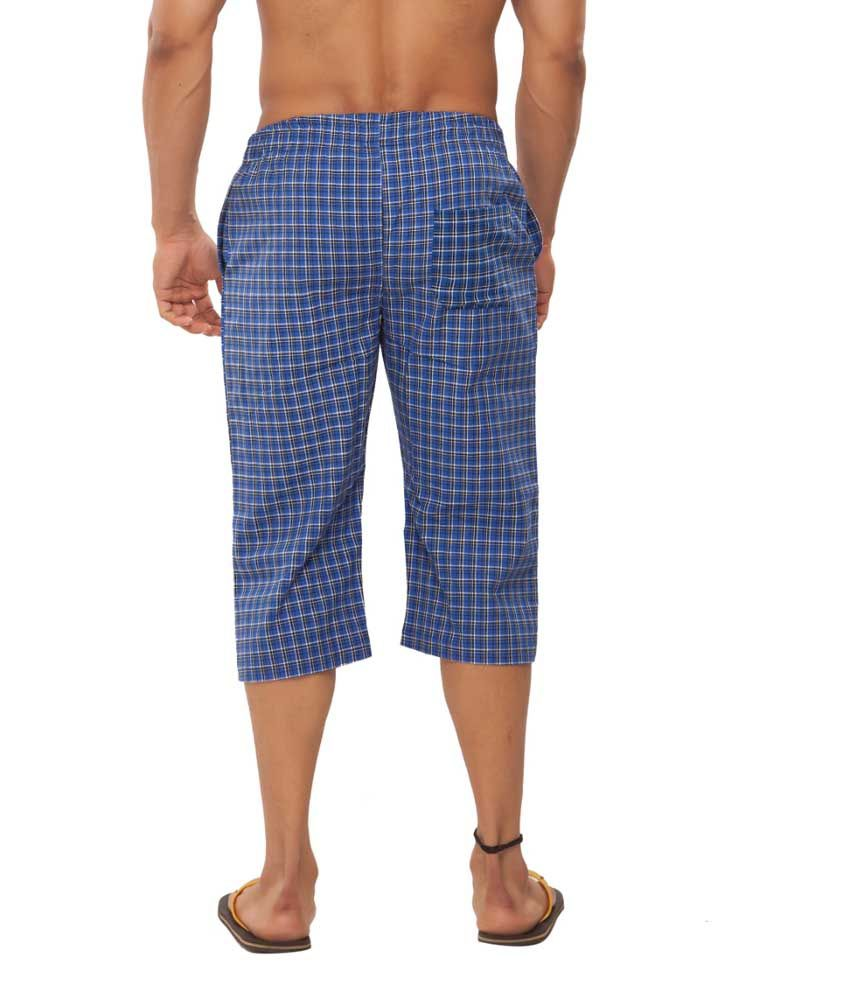 Clifton Fitness Men's Woven Capri- RoyalBlueChecks