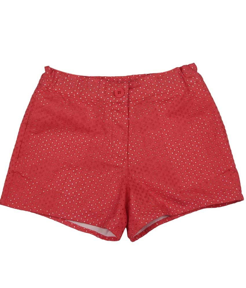 My Lil' Berry Red Cotton Shorts For Girls
