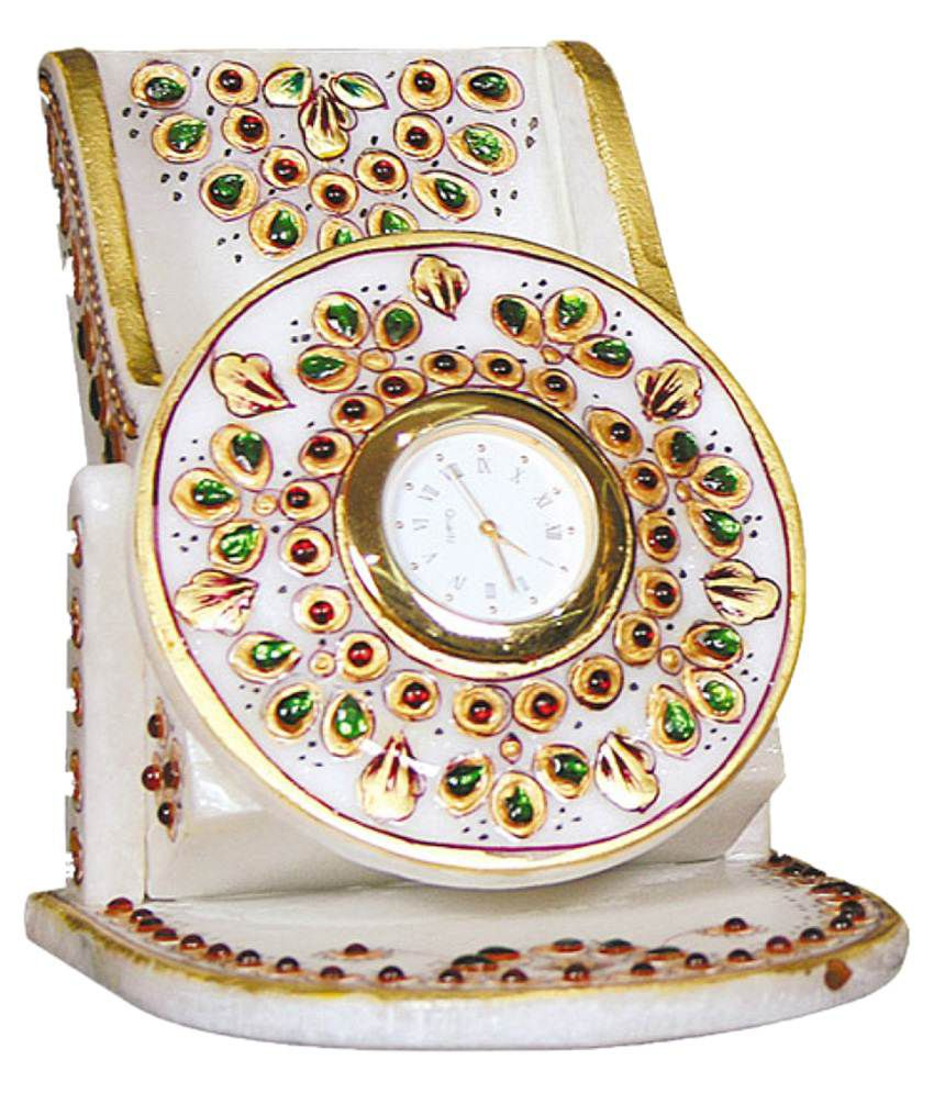 Pooja Creation White Marble Table Clock Home Decorative And Showpeace Item  Set Of 1