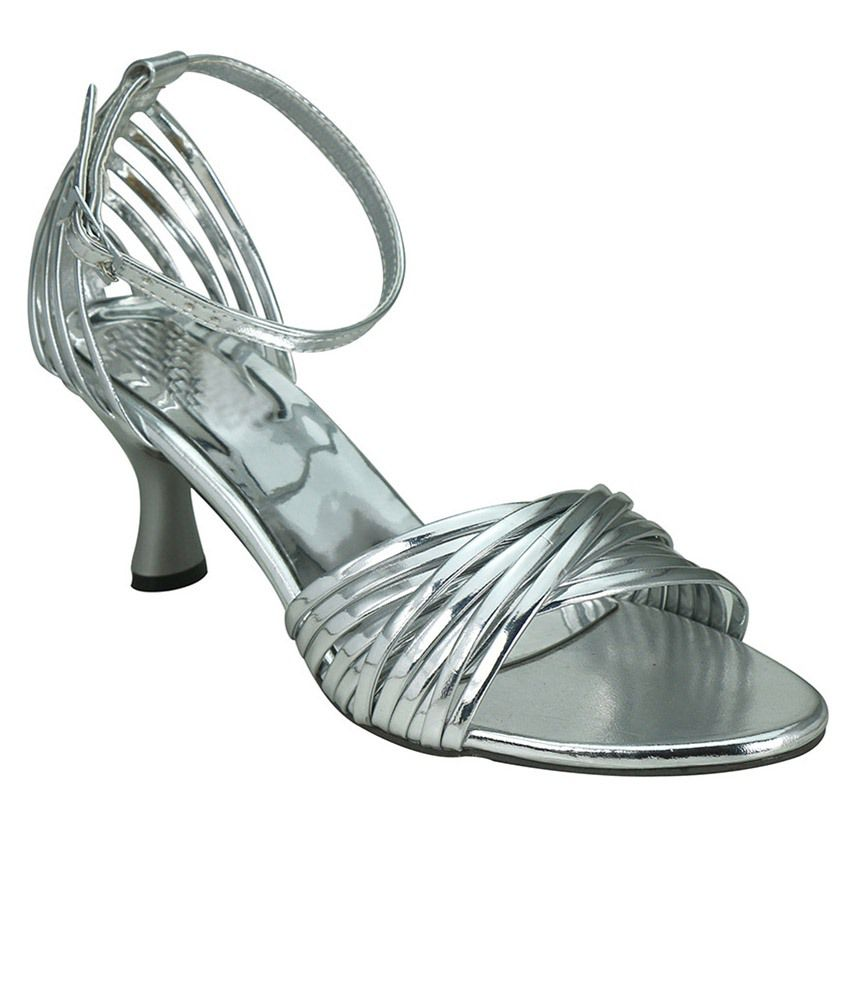 Smart Traders Silver Block Heels