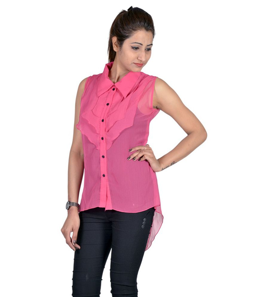 0d2d8e1bd53e Indicot Pink Poly Georgette Tops - Buy Indicot Pink Poly Georgette ...