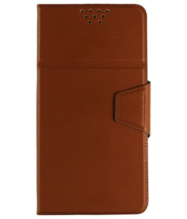 Molife Universal  Flip Cover For Samsung Galaxy Grand Choco Brown