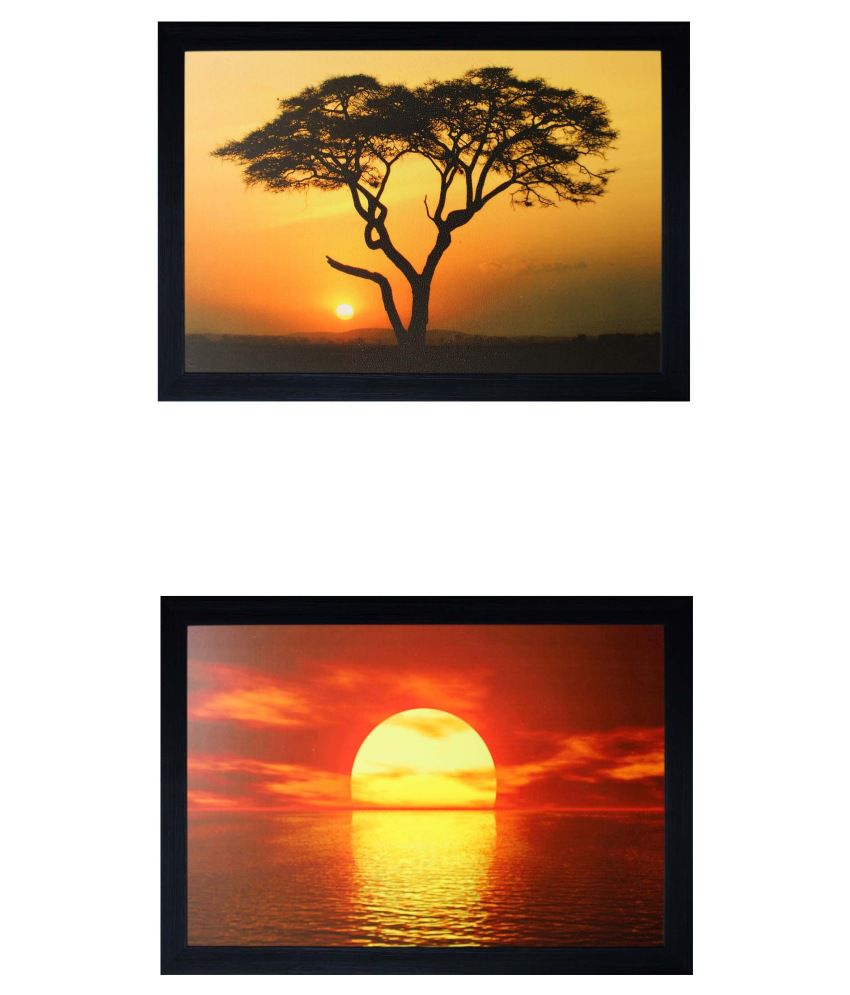 SAF Multicolour Landscape Painting with Frame