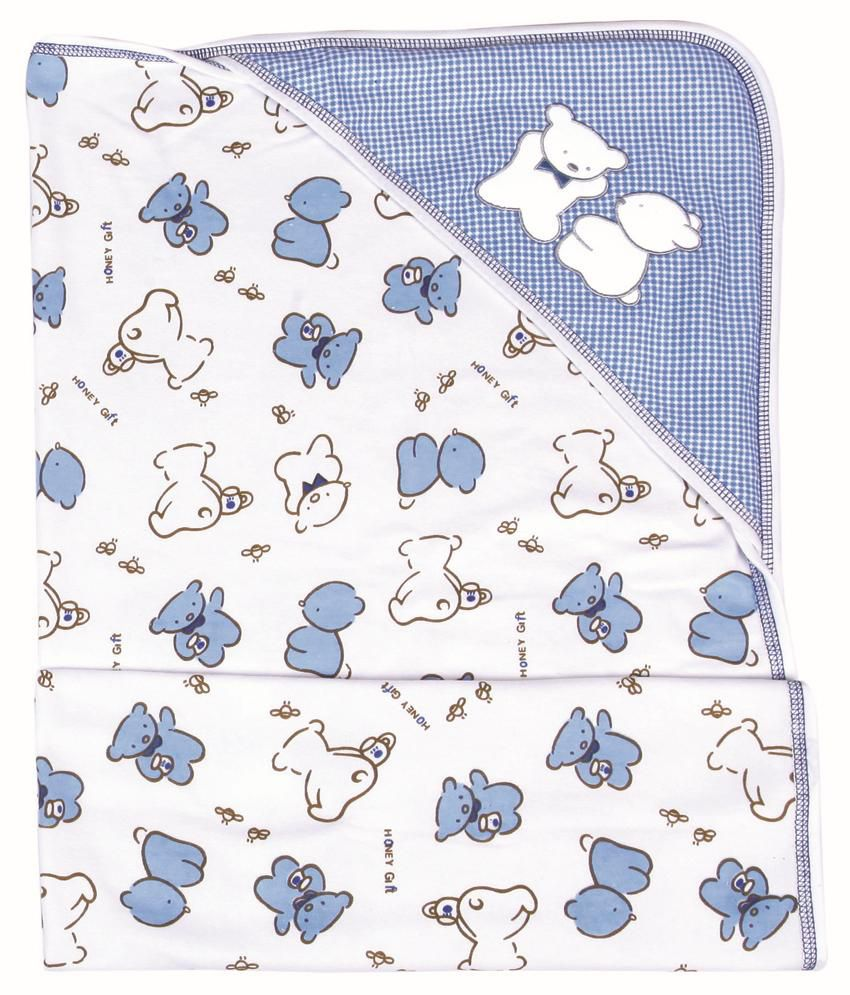 Childworld Child World Blue and White Cotton Terry Baby Towel