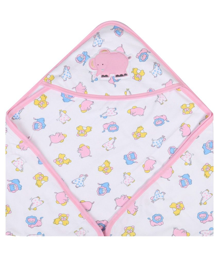 Childworld Child World White and Pink Cotton Terry Baby Towel