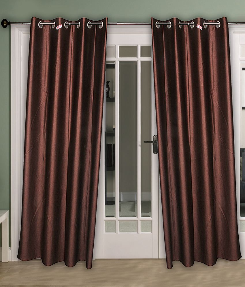 Home Aid Brown Satin Curtains Pack Of 2 Solid