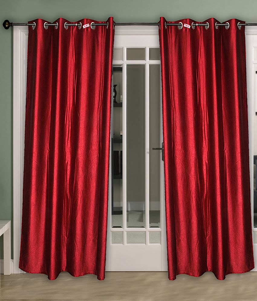 Home Aid Red Satin Curtains Pack Of 2 Solid
