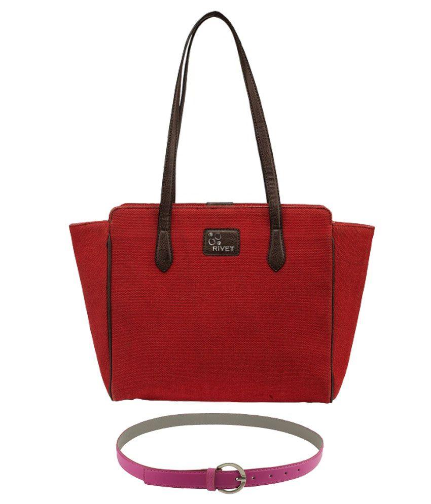 Rivet Red Canvas Shoulder Bag with Pink Belt