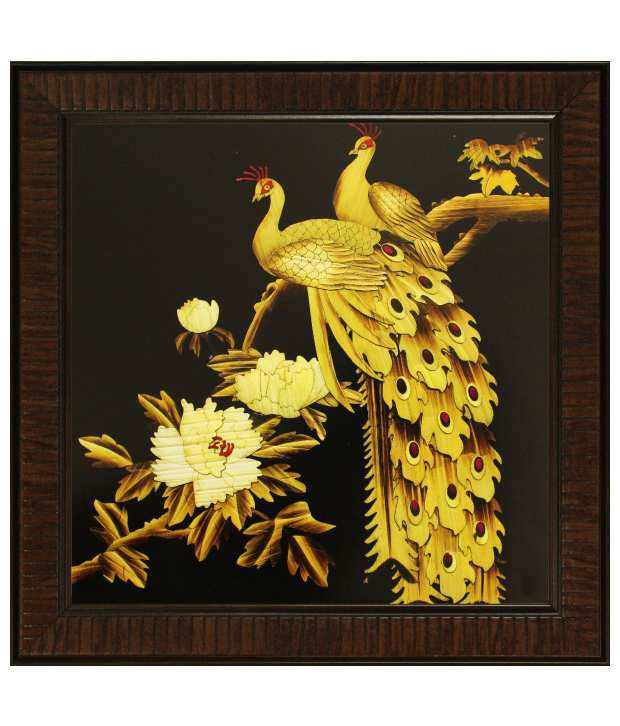 SAF Multicolour Animal Painting with Wooden Frame