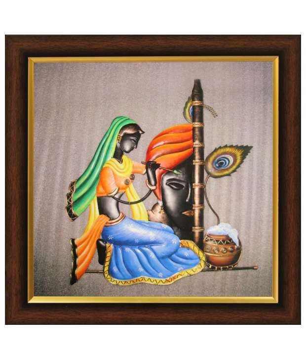 SAF Multicolour Painting with Wooden Frame
