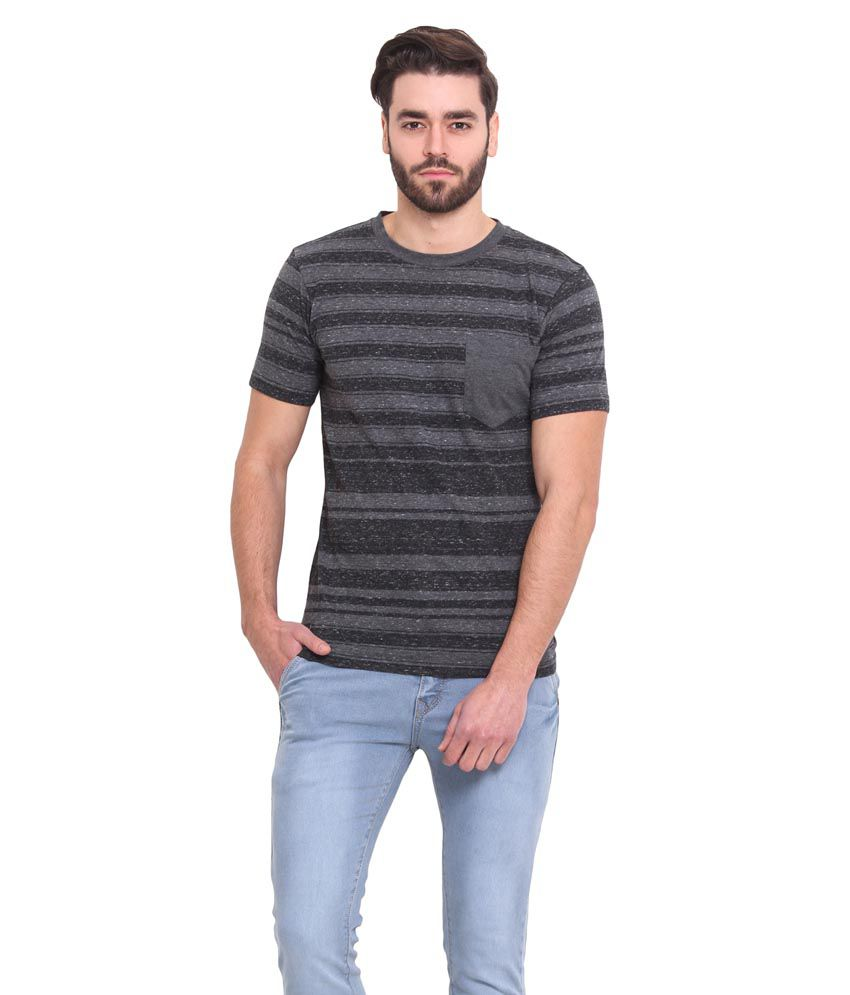 Western Vivid Black Round T Shirts