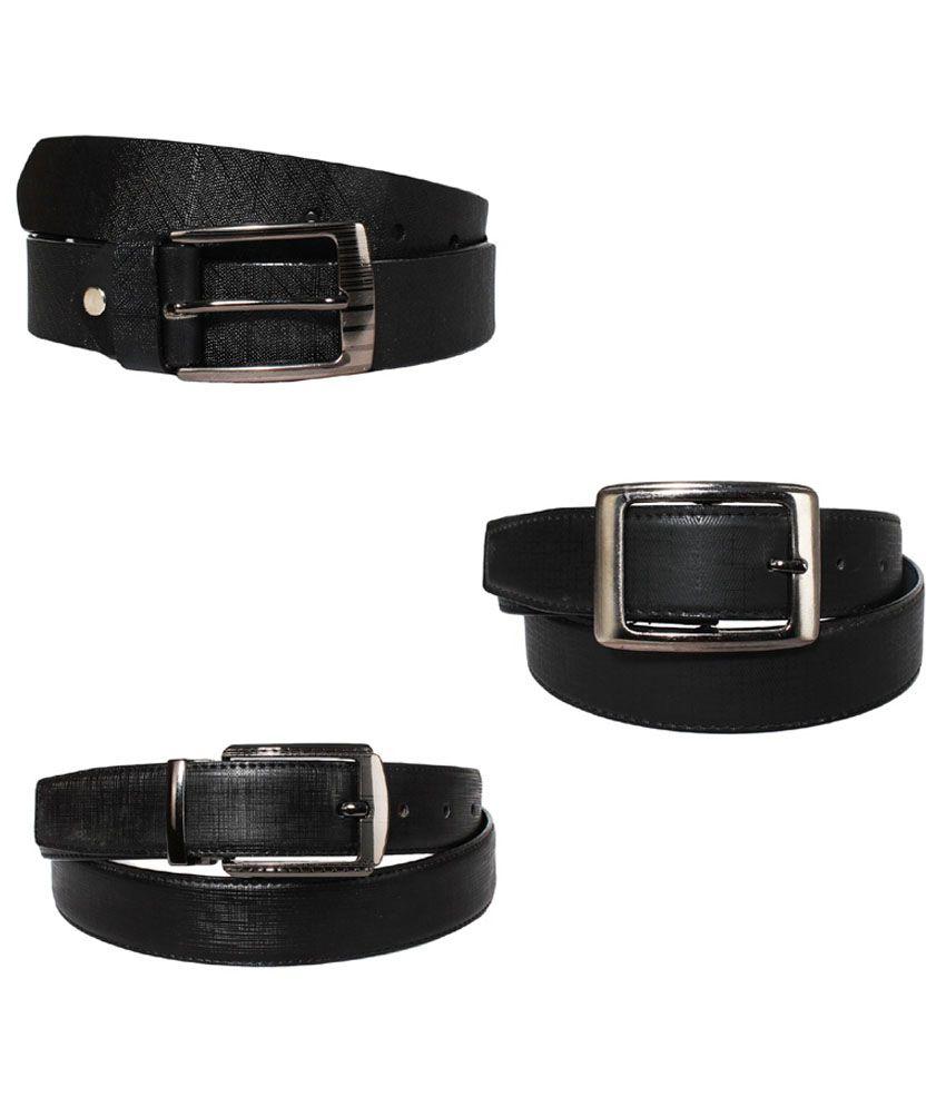 Lenin Black Leather Belt for Men - Pack of 3