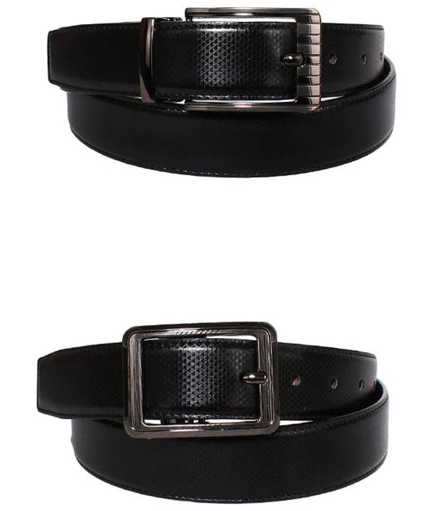 Lenin Black Leather Reversible Belt for Men - Pack of 2