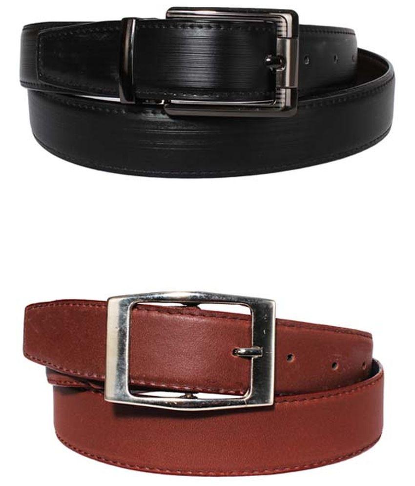 Lenin Black and Brown Leather Reversible Belt for Men - Pack of 2
